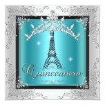 Tour Eiffel argenté bleu turquoise de diadème de Faire-part Personnalisé