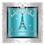 Tour Eiffel argenté bleu turquoise de diadème de Q Faire-part Personnalisé