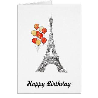 Tour Eiffel avec le groupe de carte d'anniversaire