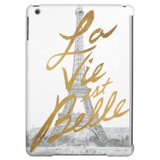 Tour Eiffel avec l'écriture d'or