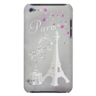 Tour Eiffel blanc chic et papillons lunatiques Étui iPod Touch