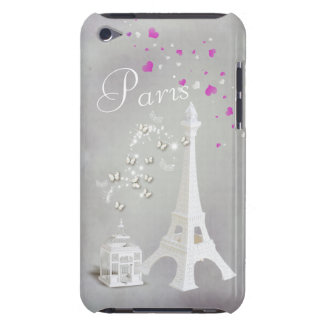 Tour Eiffel blanc chic et papillons lunatiques Coques Barely There iPod