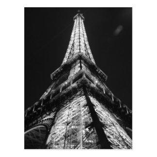 Tour Eiffel blanc noir dans la nuit de Paris Carte Postale