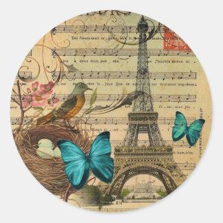 Tour Eiffel bleu de Paris de nid d'oiseau de Robin Sticker Rond