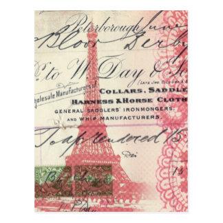 Tour Eiffel chic minable de dentelle rose vintage Carte Postale