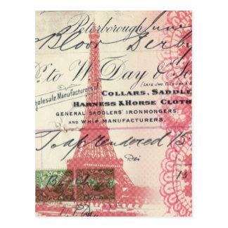 Tour Eiffel chic minable de dentelle rose vintage Cartes Postales