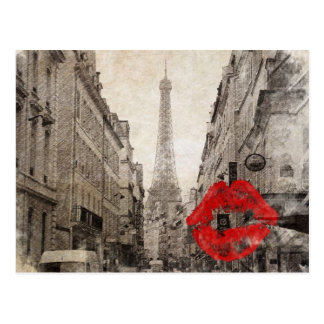 Tour Eiffel chic minable de Paris de baiser rouge Carte Postale