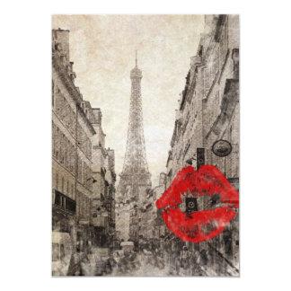 Tour Eiffel chic minable de Paris de baiser rouge Carton D'invitation 12,7 Cm X 17,78 Cm