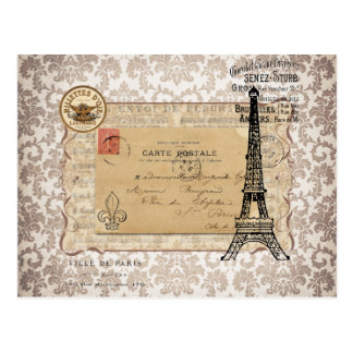 Tour Eiffel chic minable vintage de Paris Carte Postale