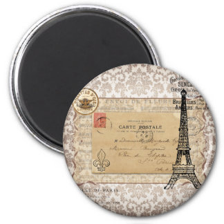 Tour Eiffel chic minable vintage de Paris Magnet Rond 8 Cm