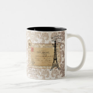 Tour Eiffel chic minable vintage de Paris Mug Bicolore