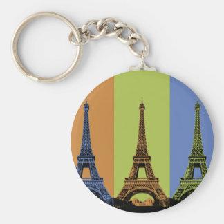 Tour Eiffel dans le triptyque de Paris Porte-clé Rond