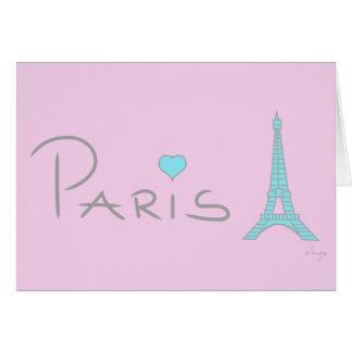 Tour Eiffel de coeur de Paris Carte De Vœux