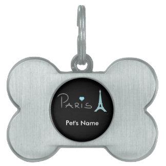 Tour Eiffel de coeur de Paris Médaillons Avec Nom Pour Chien Et Chat