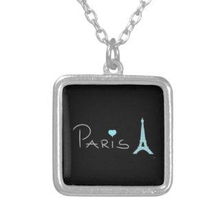 Tour Eiffel de coeur de Paris Pendentif Carré