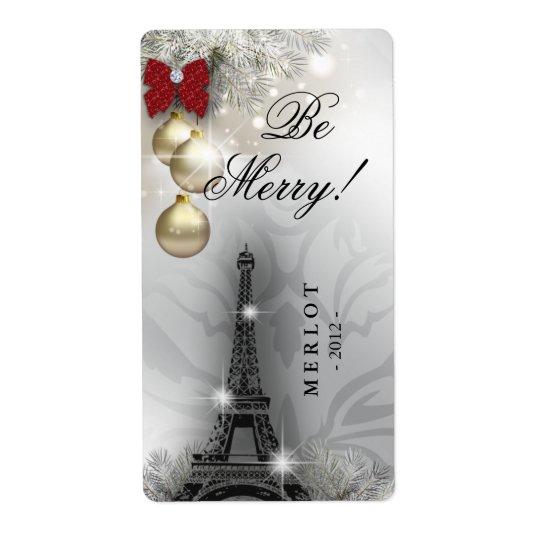 Tour Eiffel de Paris d'étiquette de vin de Noël Étiquette D'expédition