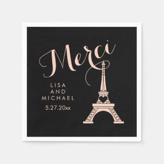 Tour Eiffel de Paris épousant Merci noir et rose Serviettes Jetables