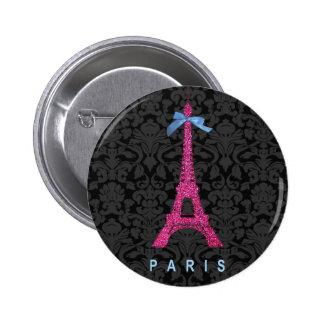 Tour Eiffel de roses indien dans le scintillement  Badge