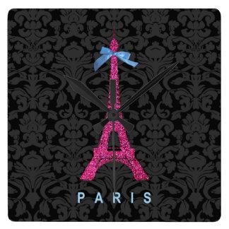 Tour Eiffel de roses indien dans le scintillement  Pendule Murale