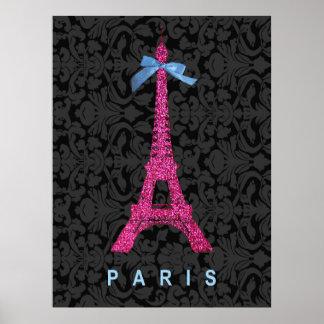 Tour Eiffel de roses indien dans le scintillement Poster