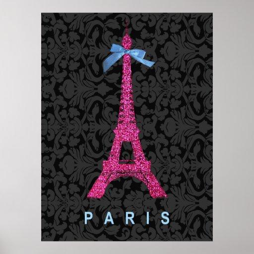 Tour Eiffel de roses indien dans le scintillement  Posters