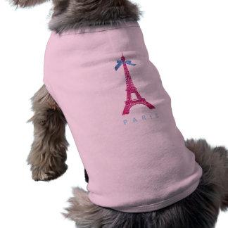 Tour Eiffel de roses indien dans le scintillement T-shirt Pour Chien