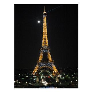 Tour Eiffel de scintillement à la carte postale de