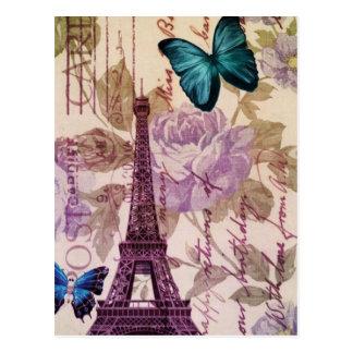 Tour Eiffel élégant Paris vintage floral Cartes Postales