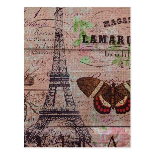 Tour Eiffel élégant Paris vintage floral Carte Postale
