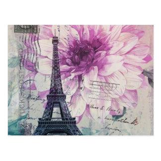 Tour Eiffel élégant vintage de Paris floral Cartes Postales