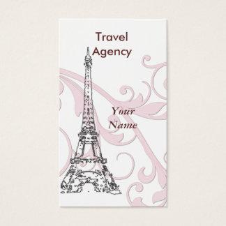Tour Eiffel et rouleau rose Cartes De Visite