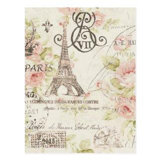 Tour Eiffel floral vintage chic de Paris Carte Postale