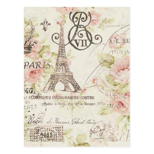 tour eiffel floral vintage chic de paris cartes postales zazzle. Black Bedroom Furniture Sets. Home Design Ideas
