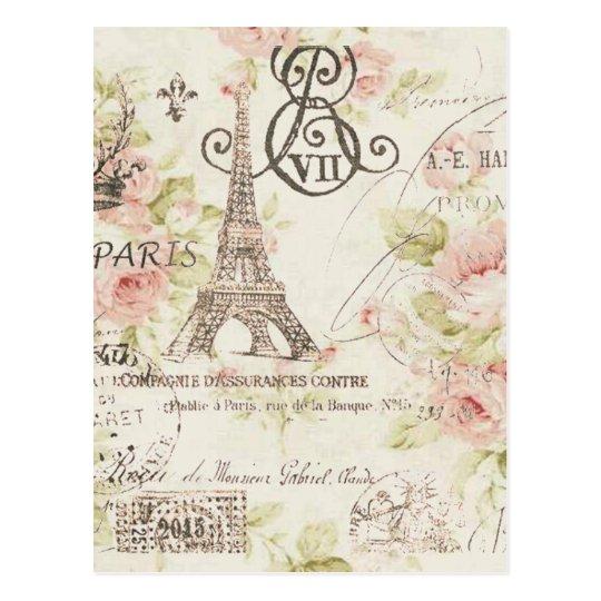 Tour Eiffel Floral Vintage Chic De Paris Cartes Postales