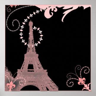 Tour Eiffel français chic minable de Paris de rose Posters