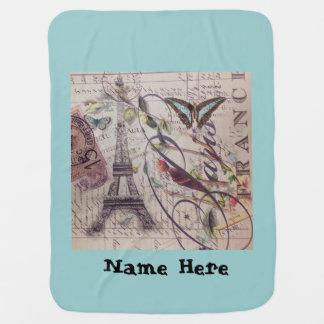 Tour Eiffel français de Paris de papillon d'oiseau Couvertures De Bébé