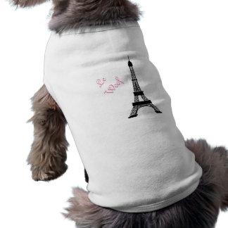 Tour Eiffel français noir et blanc Girly de style T-shirt Pour Chien