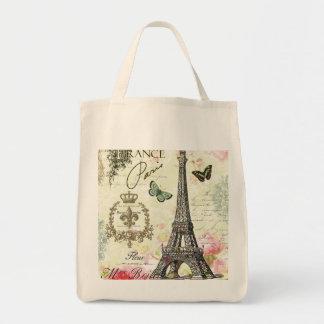 Tour Eiffel français vintage moderne Sac En Toile Épicerie