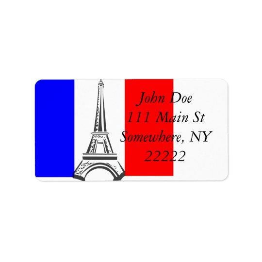 Tour Eiffel France Étiquette D'adresse