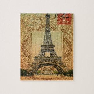 Tour Eiffel girly moderne de cru de motif de Puzzle