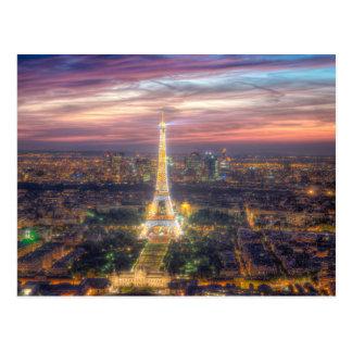 Tour Eiffel la nuit, Paris France Cartes Postales