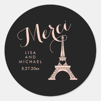 Tour Eiffel noir et rose de Paris épousant Merci Sticker Rond