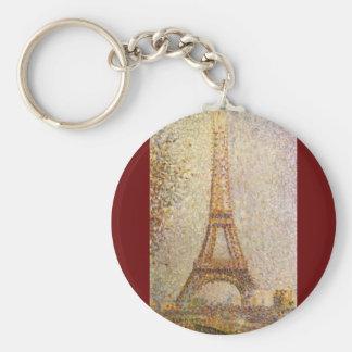 Tour Eiffel par Georges Seurat, beaux-arts Porte-clé Rond