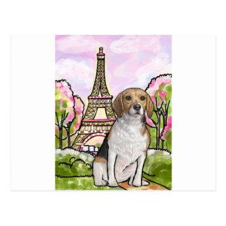 Tour Eiffel Paris de beagle Carte Postale