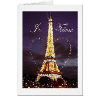 TOUR EIFFEL PARIS JE T'AIME VALENTINE CARTE DE VŒUX