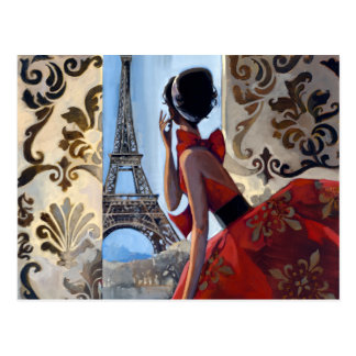 Tour Eiffel, robe rouge, nous a laissés vont Carte Postale