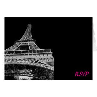 Tour Eiffel rose et noir épousant RSVP Cartes De Vœux
