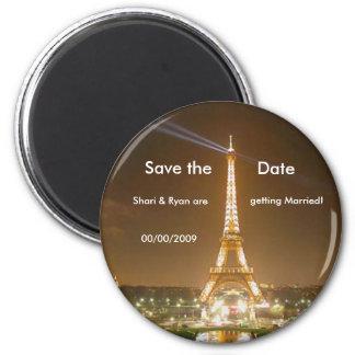 Tour Eiffel, sauvent l'aimant de date Magnet Rond 8 Cm