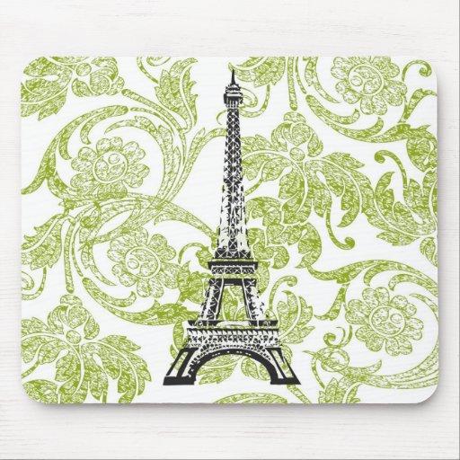 Tour Eiffel sur la conception verte Mousepad Tapis De Souris