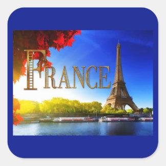 Tour Eiffel sur le TEXTE France de la Seine Stickers Carrés